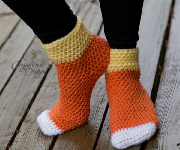 Candy Corn Socks - Easy Crochet Sock Patterns for Beginners