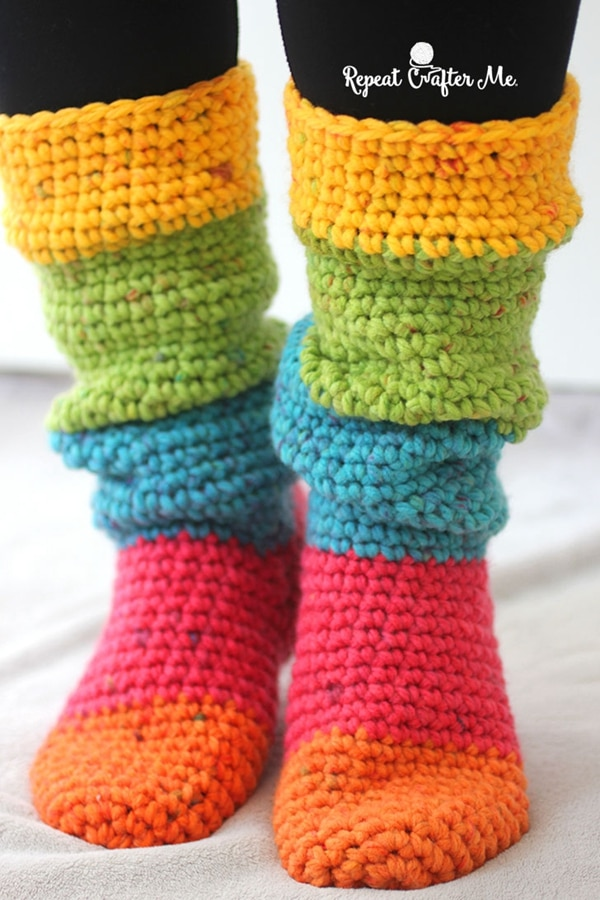Caron Chunky Cakes Slouchy Slipper Socks - Easy Crochet Sock Patterns for Beginners