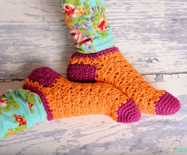 Color Pop Socks - Easy Crochet Sock Patterns for Beginners