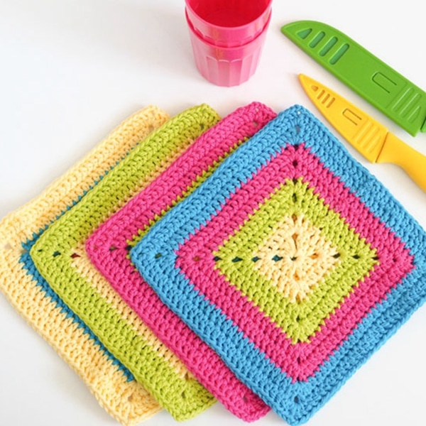 Colorful Solid Granny Square Dishcloth - Easy Crochet Granny Square Free Patterns for Beginners