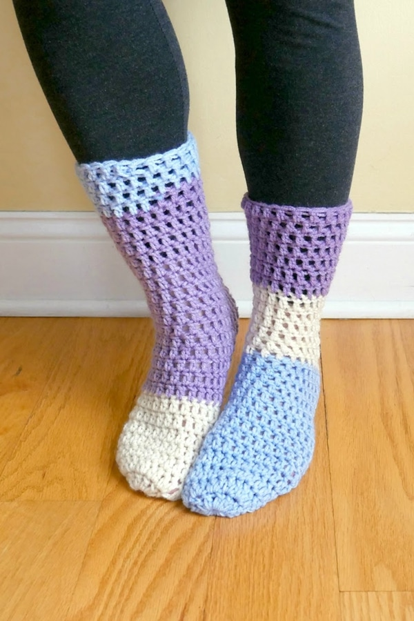 Home All Day Slipper Socks - Easy Crochet Sock Patterns for Beginners