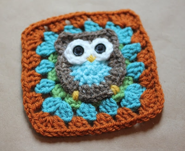 Owl Granny Square - Easy Crochet Granny Square Free Patterns for Beginners