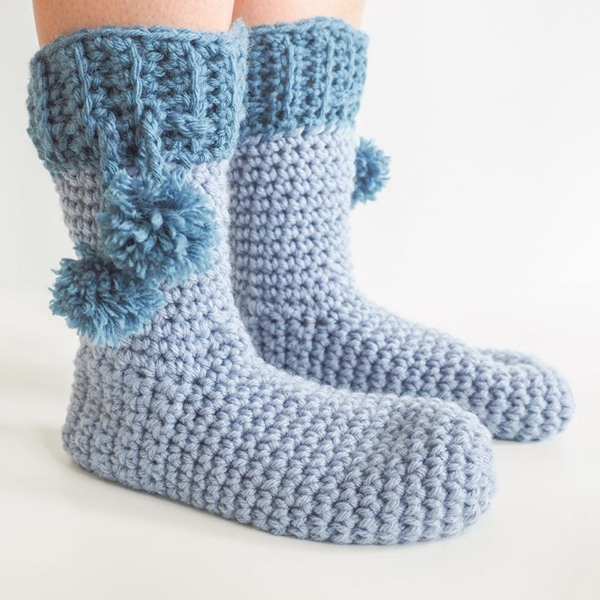 Pom Pom Slipper Socks - Easy Crochet Sock Patterns for Beginners