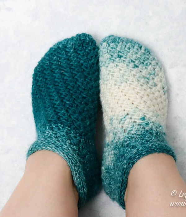 Snowball Slipper Socks - Easy Crochet Sock Patterns for Beginners