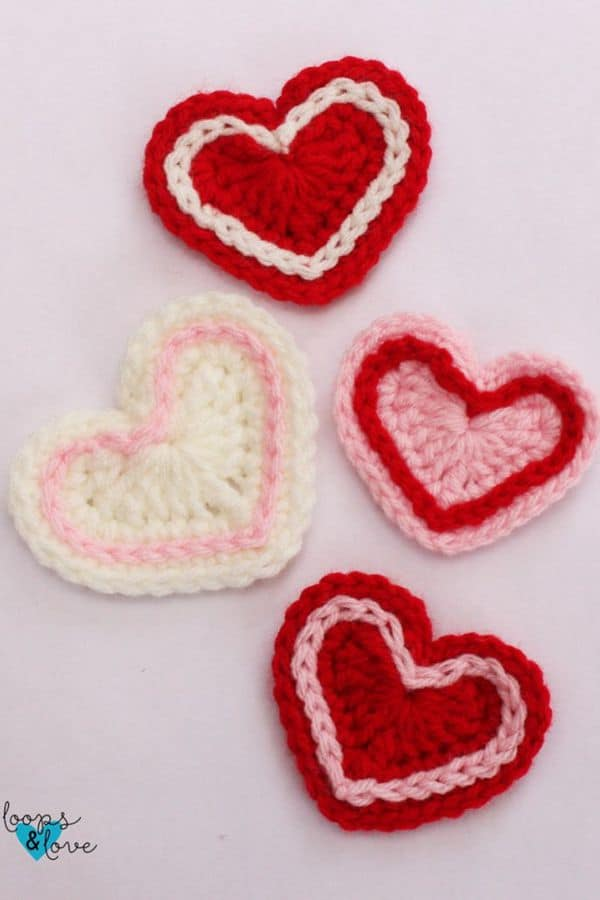 two color hearts - Easy Crochet Heart Patterns for Beginners