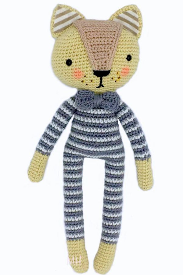 Cat in Striped Pajamas - Easy Crochet Cat Patterns for Beginners