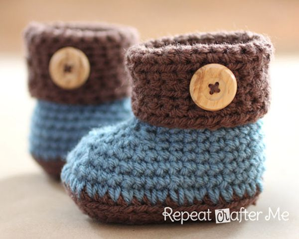 Cuffed Baby Booties - Easy Crochet Baby Bootie Patterns for Beginners