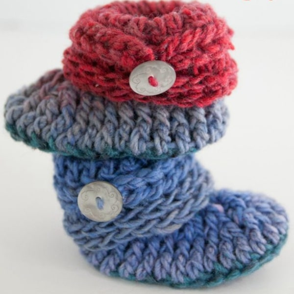 Ups and Downs Baby Booties - Easy Crochet Baby Bootie Patterns for Beginners