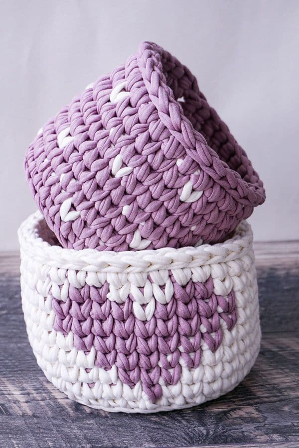 Valentine's Crochet Baskets Set - Easy Crochet Valentine's Day Free Patterns for Beginners